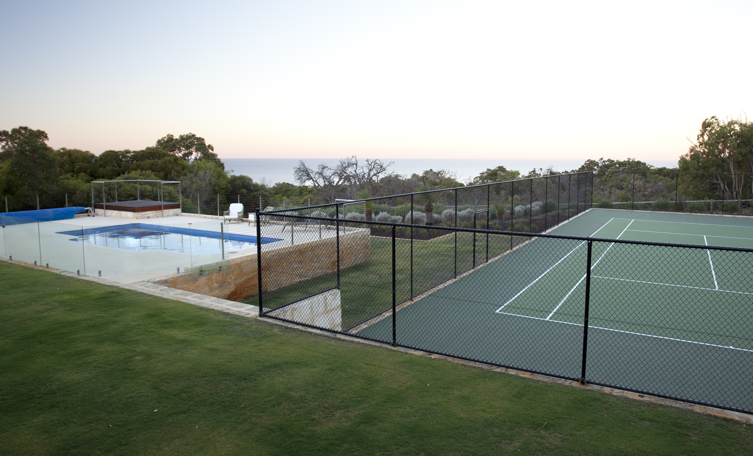tennis court pool view