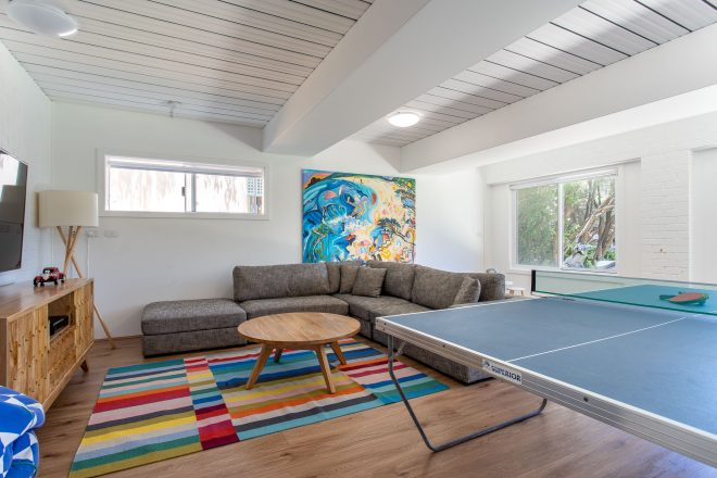 Second living / games room with table tennis table at Surf's Up, Yallingup